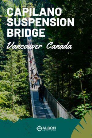 A view of people crossing the Capilano suspension bridge in Vancouver British Columbia Canada