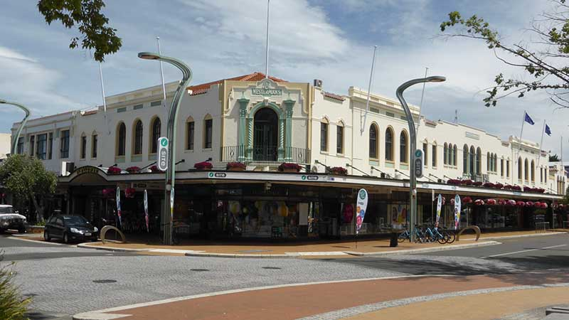 Corner art deco style building in Downtown Hastings New Zealand