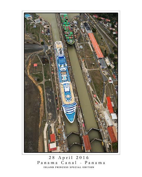 Island Princess inside the Gatun Lock of the Panama Canal