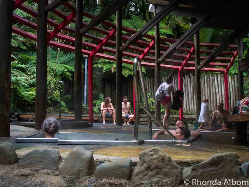 Outdoor hot tubs at Morere Hot Springs