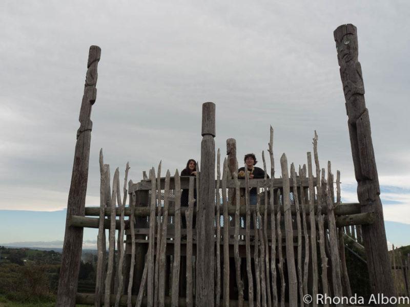Girls at the top of Otatara Pa in Hawkes Bay, New Zealand