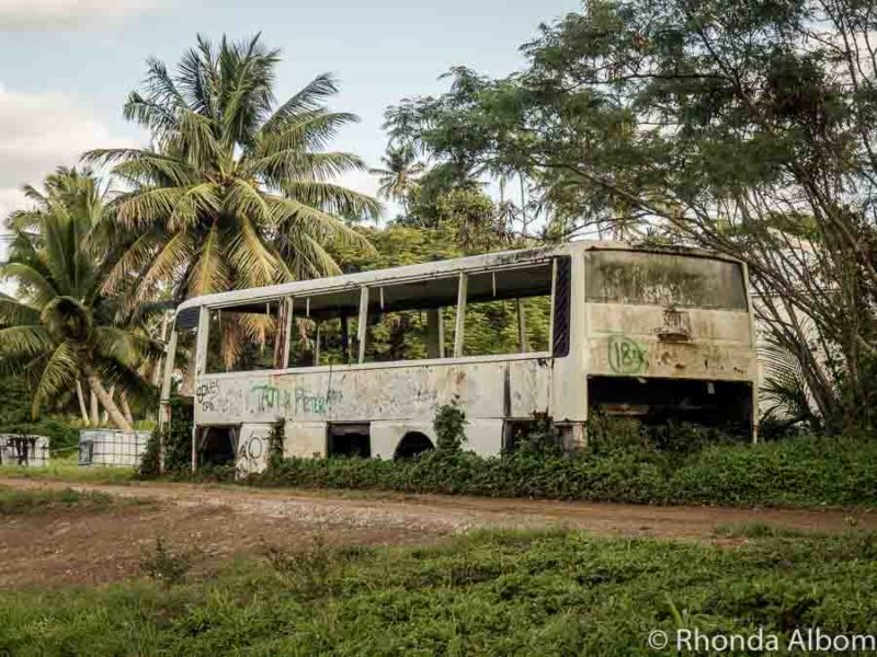 Derelict bus on the property of an abandoned hotel resort, Rarotonga
