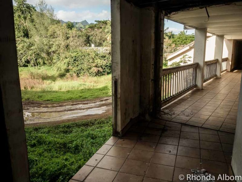 Missing sections of the  balustrades on the Rarotonga abandoned hotel