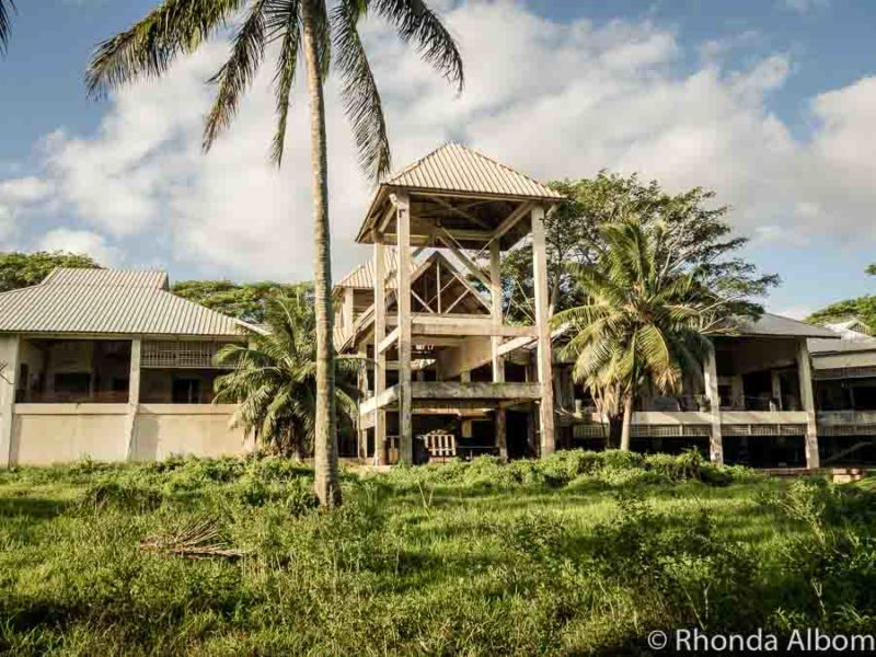 The unfinished main entrance to the now derelict Sheraton Rarotonga in the Cook Islands