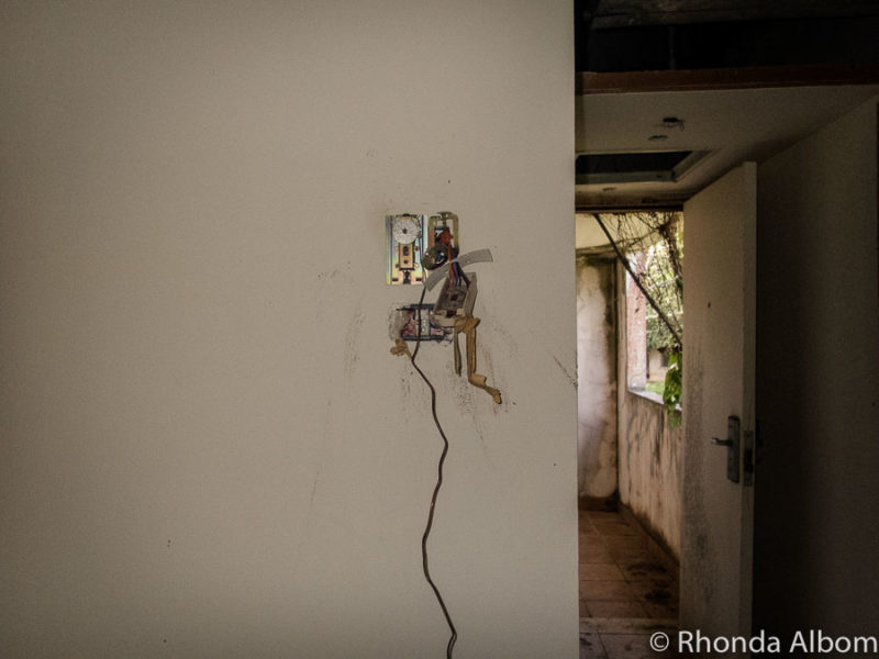 Unfinished electrical wiring in the derelict buildings of the unfinished Sheraton in Rarotonga, Cook Islands