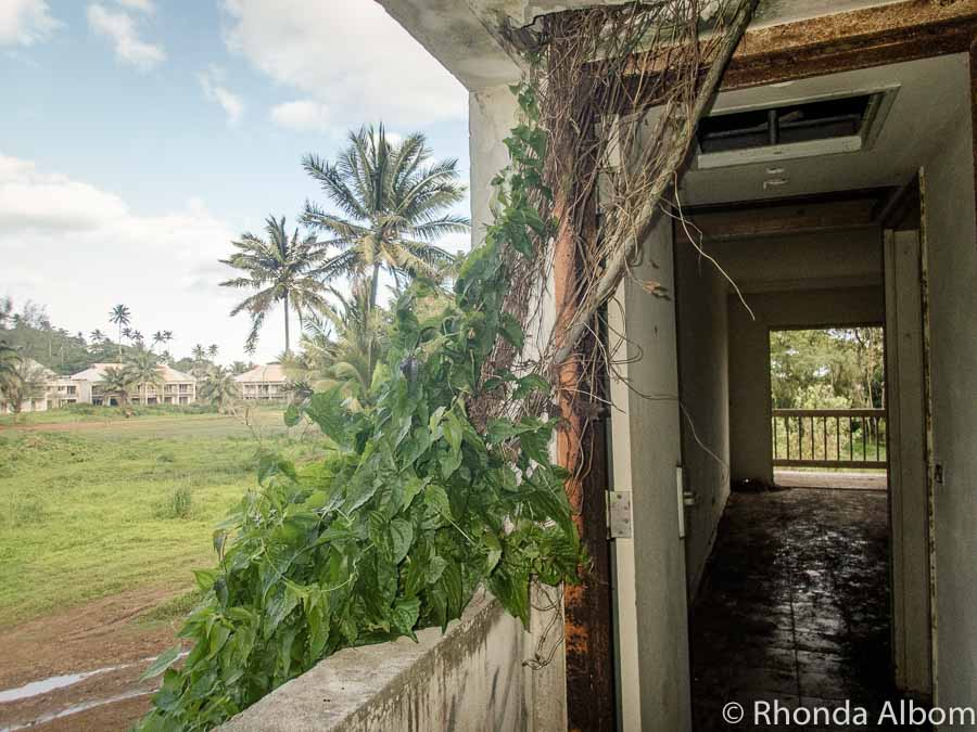 Vines growing around and through the exterior of the abandoned Sheraton hotel Rarotonga