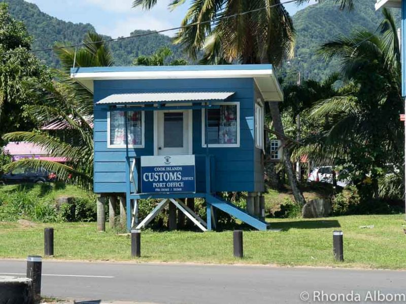 Tiny, one room building that is the port customs office on this Travel guide to Rarotonga Cook Islands