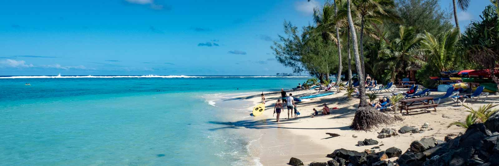 Swimming in turquoise waters and relaxing on white sand beaches are amongst the things to do in Rarotonga in the Cook Islands