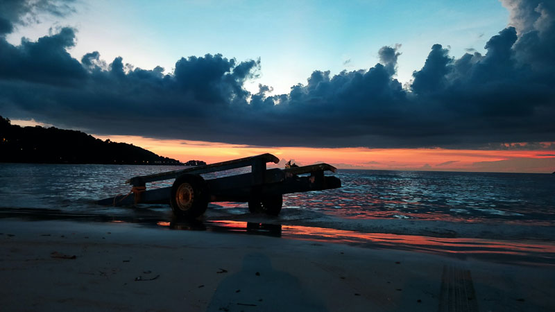 Sunset on Patong Beach in Phuket, Thailand