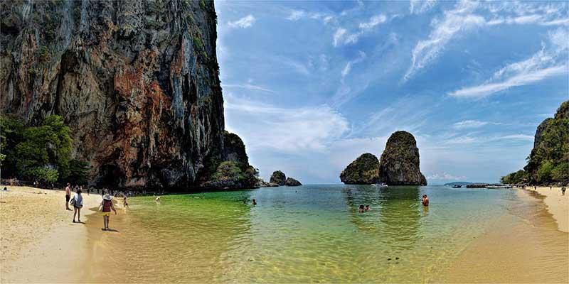 Huge rock outcroppings highlight Phra Nang Beach, Thailand