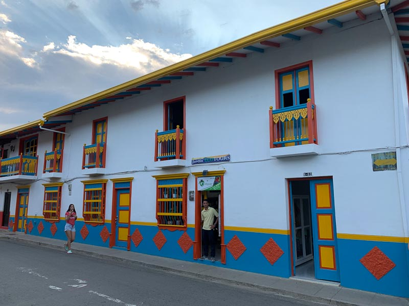 Colorful buildings on a street in Jardin Colombia