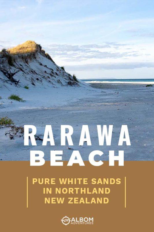 View of white sand dunes, beach and Pacific ocean from Rarawa Beach, Northland New Zealand