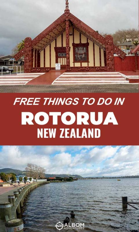 View of marae at Ohinemutu Maori Village and Rotorua Lake front in Rotorua New Zealand
