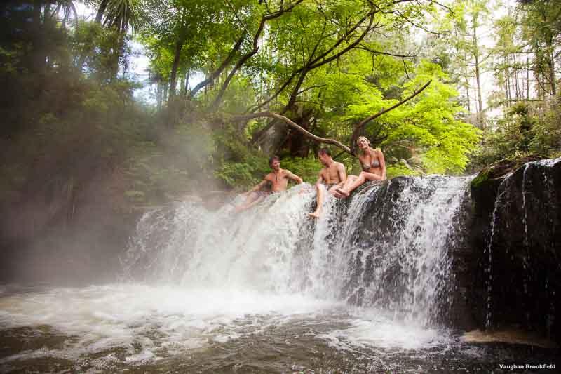 Waterfall at Kerosene Creek one of the free geothermal hot springs in Rotorua