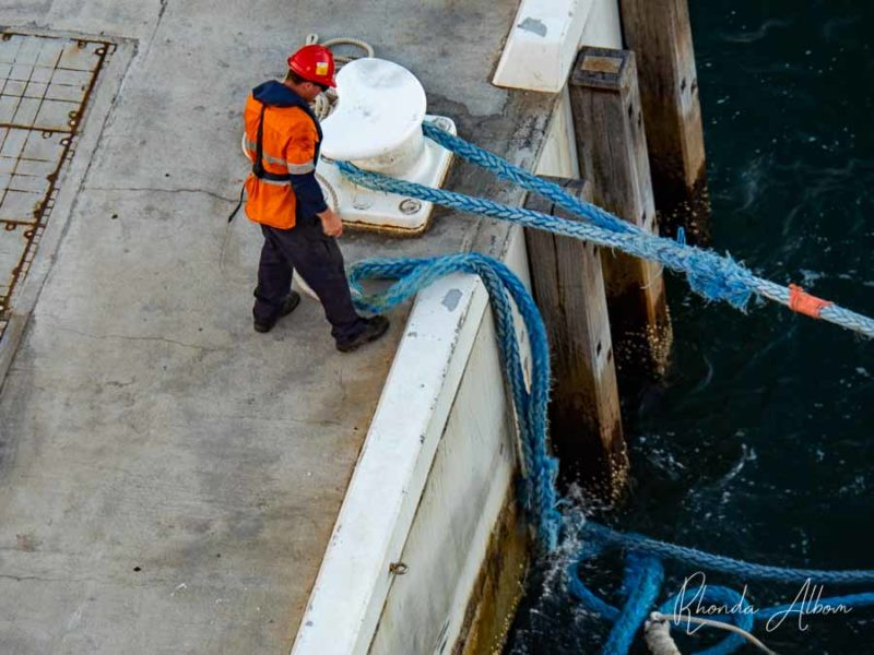Trabajador portuario desechando los cruceros