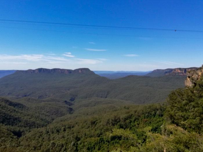 Montañas Azules como se ve en una de las muchas excursiones de un día desde Sydney