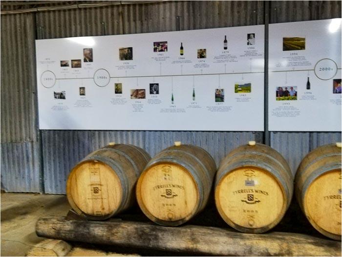 Barriles de vino en Hunter Valley en las afueras de Sydney, Australia.