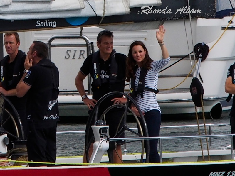 Princess Kate, Duchess of Cambridge at the helm on a visit to Auckland