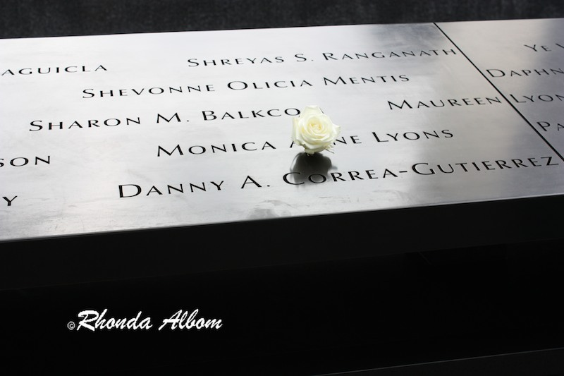 A Flower Placed on the Memorial at Ground Zero in New York City