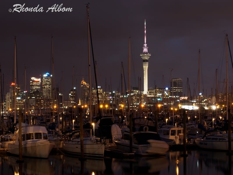 Auckland New Zealand skyline at night