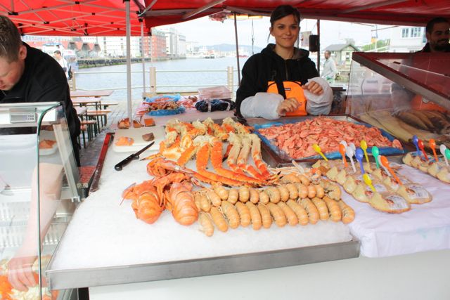 Bergen Fish Market offered a free sample of whale meat in Norway