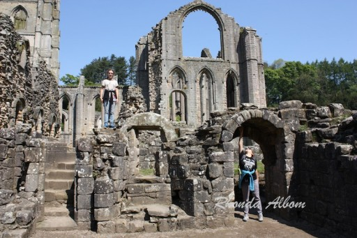 Walking amongst the ruins of Fountain Abbey and Monastery in England
