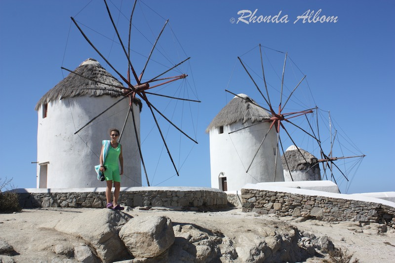We can walk right up to the Windmills on the island of Mykonos in Greece