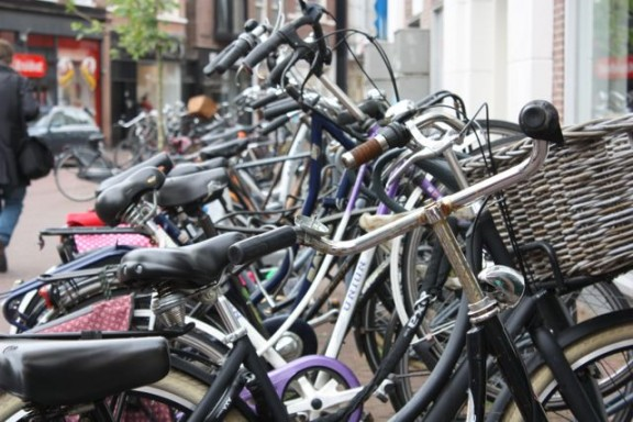 Bicycles in Haarlem, The Netherlands, seen from a cruise holiday port stop