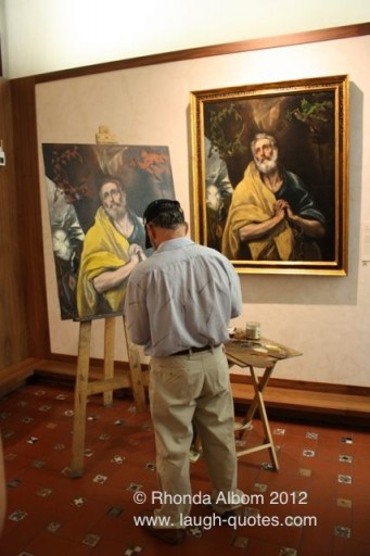painter inside the El Greco museum reminds me of a Norman Rockwell paining