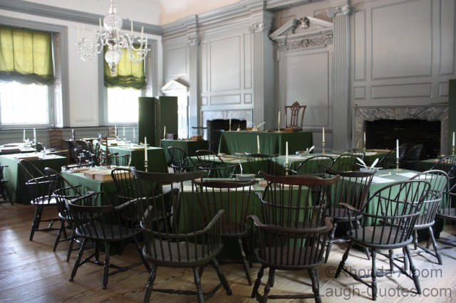 room where the Declaration of Independence was signed in Independence Hall, Philadelphia