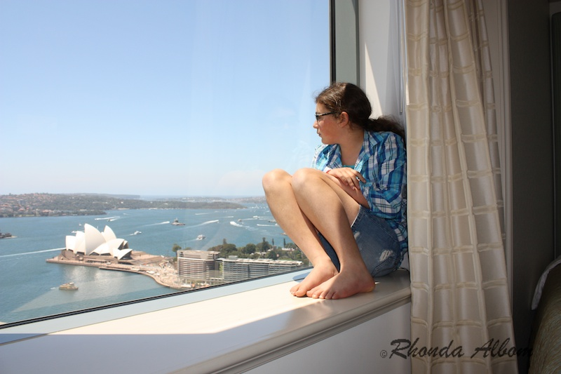 Looking out our hotel window at the Sydney Harbour, Sydney, Australia