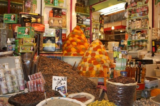 Mixed spices in a Moroccan market