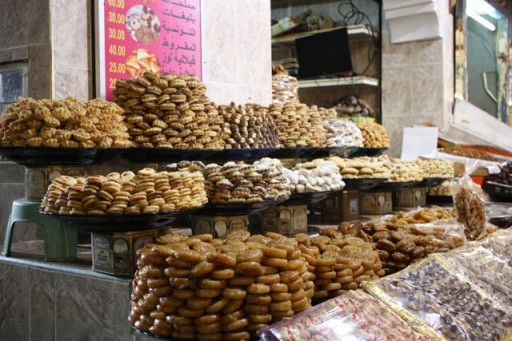 piles of dates and  sweets in a Moroccan market