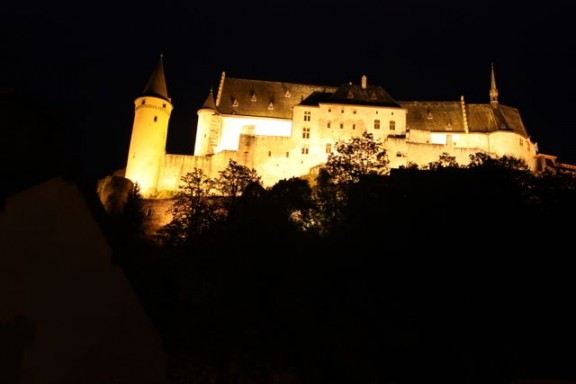 Vianden castle lit up at night