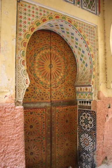 door to a private cemetery in Meknes, Morocco
