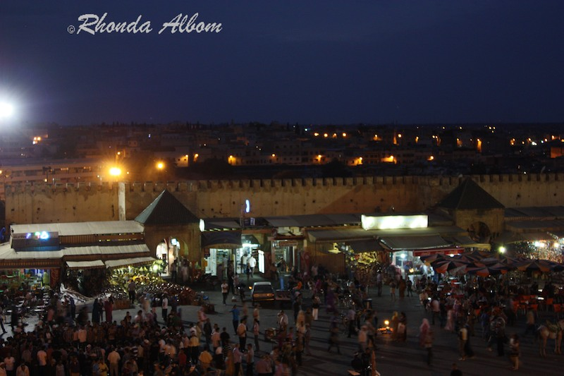Meknes Morocco main square and market at night