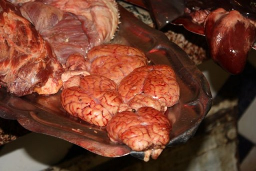 Brains for sale at a meat market in Meknes, Morocco