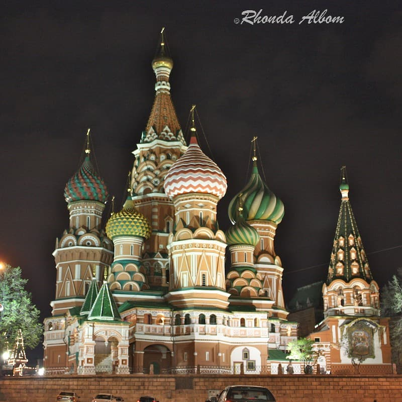 St. Basil's Cathedral in Red Square, Moscow at night