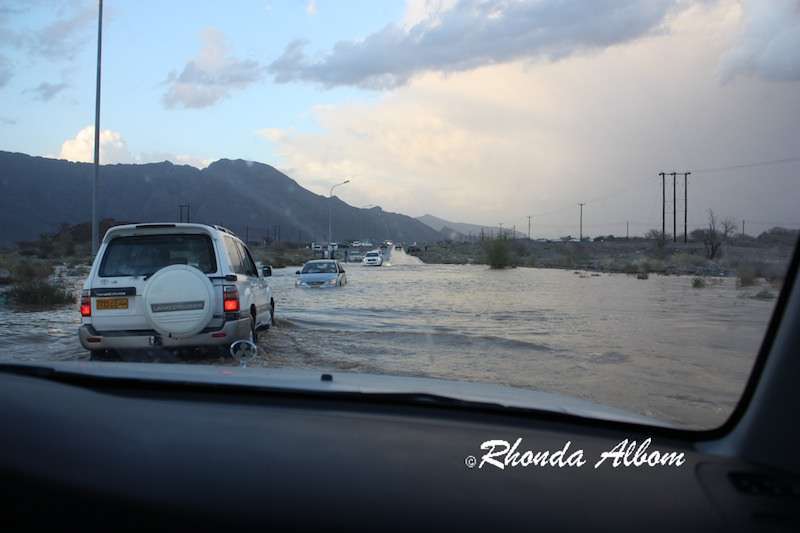 Desert flash flooding road danger and cars can no longer pass without 4 wheel drive