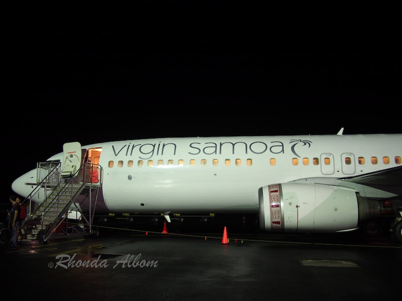 Virgin Samoa at Faleolo Airport in Apia, Samoa with no runway lights in the background