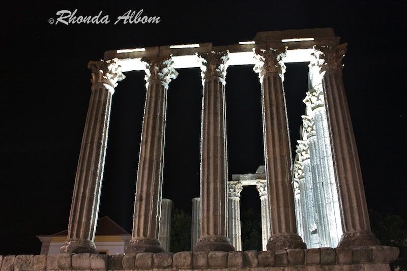 Roman Temple at night, Evora Portugal