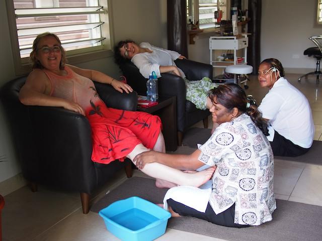 Foot massage at Saletoga Sands Resort, Samoa