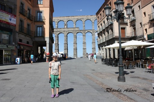 Our first view of the Aqueduct of Segovia built during the Roman empire in Spain