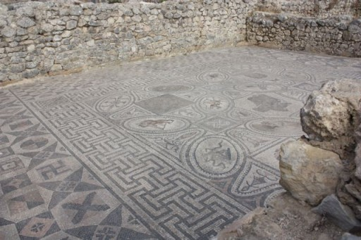 Floor mosaics in the ancient Roman ruins of Volubilis, Morocco