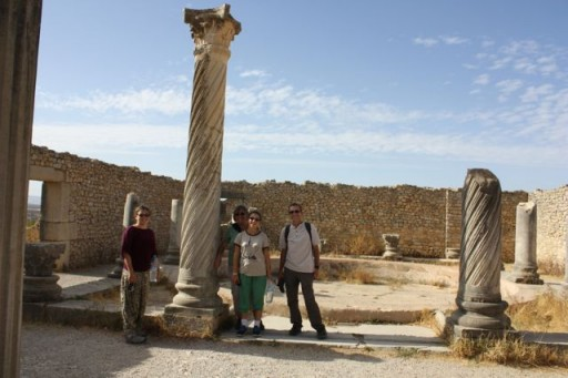 Intricately carved columns at Volubilis, Morocco