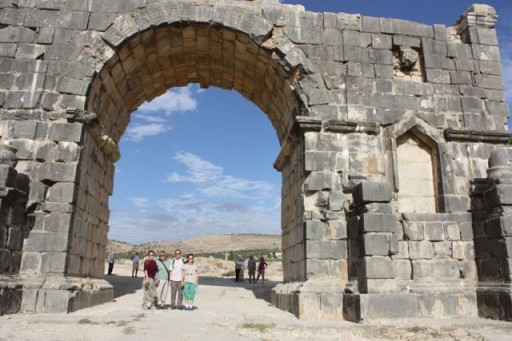 Victory Arch in the ancient Roman ruins of Volubilis, Morocco