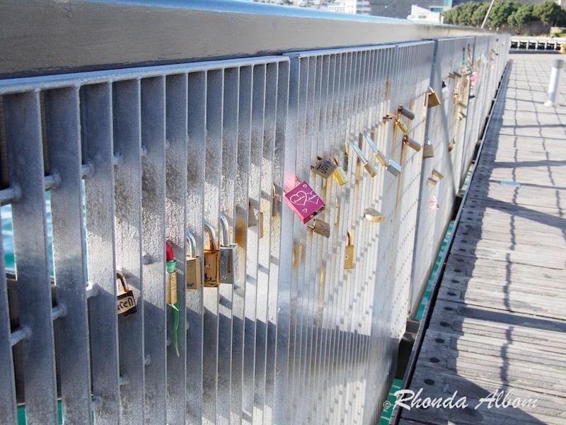Locks on a bridge in Wellington New Zealand