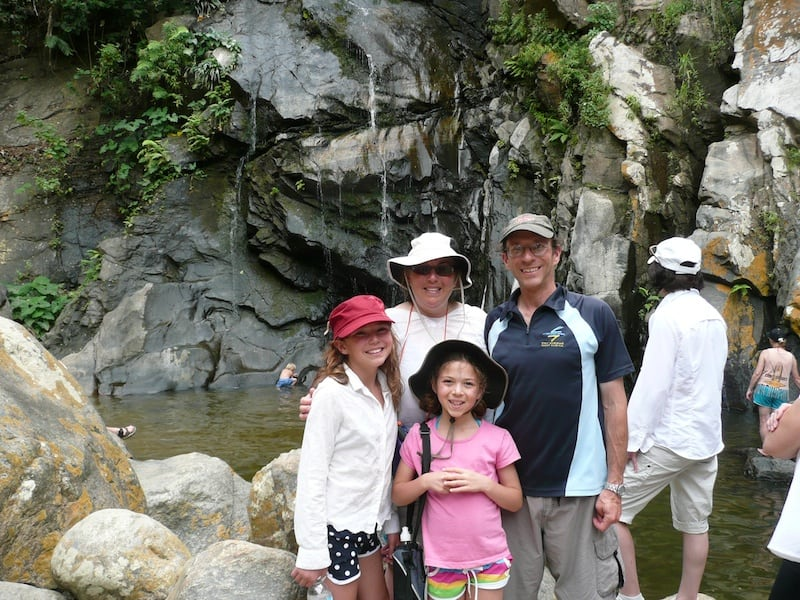 Our family in front of the waterfall in 2009.
