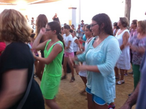 Country dancing in the streets in Spain