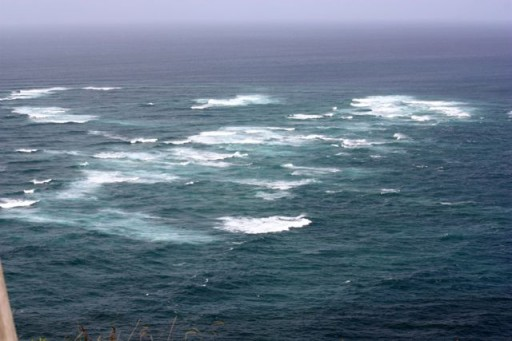 Meeting of the seas at Cape Reinga in New Zealand